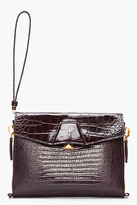 Alexander Wang Mahogany Leather Reptile Lydia Clutch