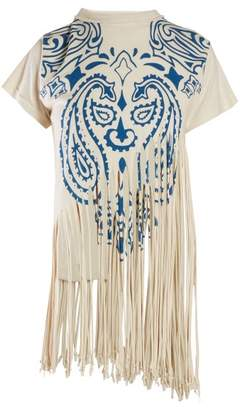 Loewe Fringed Silk Cotton T Shirt - Womens - Blue Print