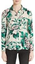 Burberry Aster Peony Rose Print Silk Shirt