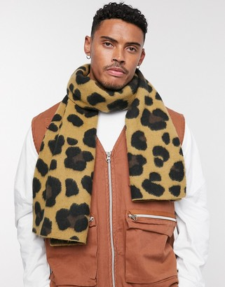 Asos Design DESIGN blanket scarf in brushed leopard print