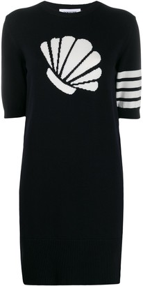 Thom Browne 4-Bar stripe intarsia shell dress