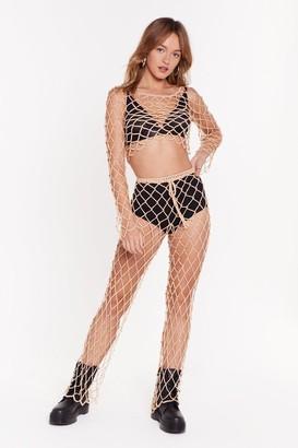 Nasty Gal Womens Beadin' Love Crochet Relaxed Trousers - Beige - L