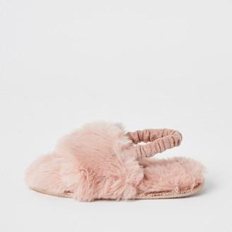 River Island Mini girls Pink faux fur diamante slippers