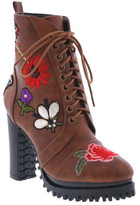 Penny Loves Kenny Women's Frank Floral Patch Combat Boot