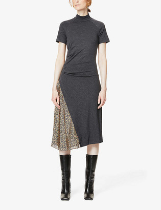 Brunello Cucinelli Floral-panel wool-blend jersey and silk-crepe midi dress
