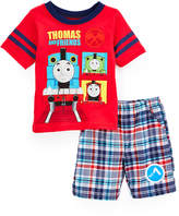 Children's Apparel Network Thomas & Friends Red Tee & Plaid Shorts - Toddler