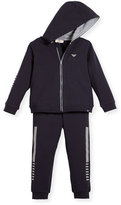 Armani Junior Two-Piece Hooded Track Suit, Gray, Size 3-24 Months