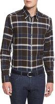 Ermenegildo Zegna Large-Plaid Long-Sleeve Sport Shirt, Brown Pattern