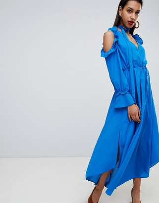 Asos Current Air Cold Shoulder Dress-Blue