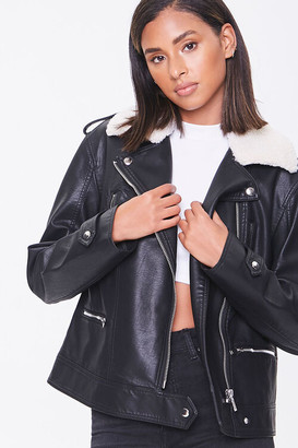 Forever 21 Faux Leather Shearling Moto Jacket