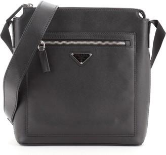 Prada Front Pocket Messenger Bag Saffiano Leather Small