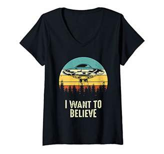 Hunter Womens Alien UFO Tee I Want To Believe V-Neck T-Shirt