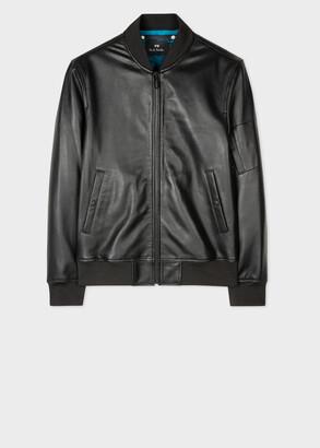 Paul Smith Men's Black Lamb Leather Bomber Jacket