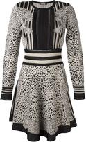 Roberto Cavalli leopard print longsleeved dress - women - Viscose/Virgin Wool/Polyimide - 44