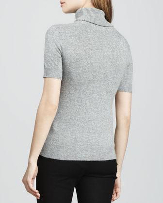 Rachel Zoe Reversible Deedee Cutout-Turtleneck Sweater, Gray