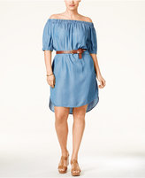 MICHAEL Michael Kors Size Off-The-Shoulder Denim Dress