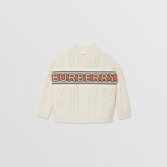 Burberry Logo Panel Cable Knit Wool Cashmere Sweater
