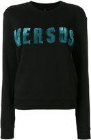 Versus appliqué logo sweatshirt - women - Cotton/Spandex/Elastane - L