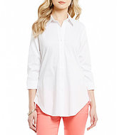 Westbound Point Collar Ruched Sleeve Shirt