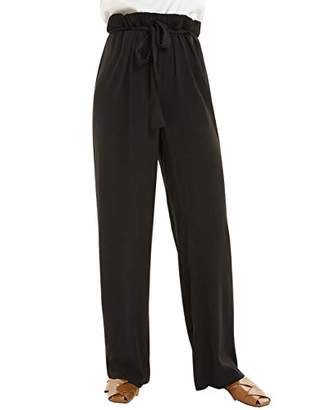 Basic Model Women's Maxi Wide Leg Pants High Waisted Elastic Palazzo Pants and Trousers with Belt