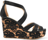 Jimmy Choo Perry leather and embroidered cork wedge sandals