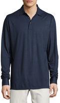 Peter Millar Katsura Cotton-Silk Long-Sleeve Polo Shirt