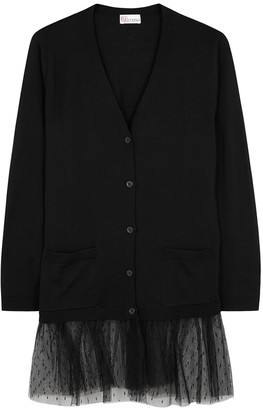 RED Valentino Black Wool And Point D'esprit Cardigan