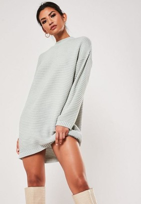 Missguided Petite Gray High Neck Knit Ribbed Dress