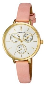 Laura Ashley Women's Chrono Dial Pink Polyurethane Strap Watch 36mm
