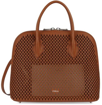 Furla Code Perforated Leather Satchel