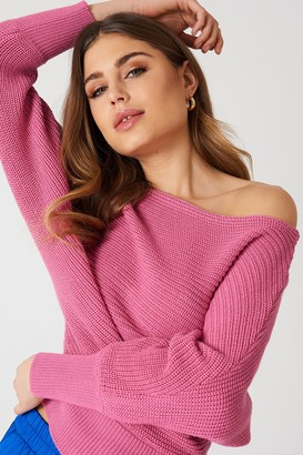 NA-KD Off Shoulder Knitted Sweater Beige