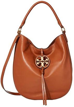 Tory Burch Miller Metal Slouchy Hobo (Black) Handbags