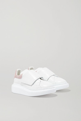 Alexander McQueen Kids Kids - Suede-trimmed Leather Exaggerated-sole Sneakers - White