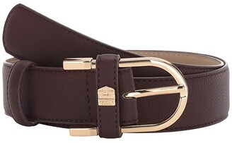 Vince Camuto Open Bell Buckle with Feathered Edge and Tonal Outline Stitching (Chocolate Brown) Women's Belts