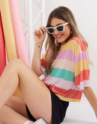 ASOS DESIGN oversized cropped t-shirt in candy stripe