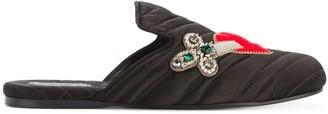 Gucci heart and dagger velvet slipper