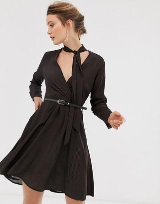 Closet London Closet wrap dress with neck tie