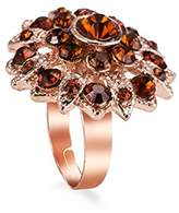 MC M&c Women's - FR03 - Retro Flower Topaz Studded Rose Gold-Tone Cocktail Ring