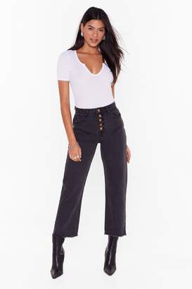 Nasty Gal Womens Haven't Jean the Last of Me Button-Down Mom Jeans - black - S