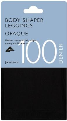 John Lewis & Partners 100 Denier Body Shaper Opaque Leggings, Black