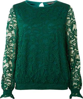 Dorothy Perkins Womens Green Sheered Hem Long Sleeve Top, Green