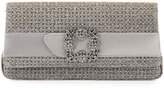 Manolo Blahnik Gothisi Woven Buckle Clutch Bag, Bronze