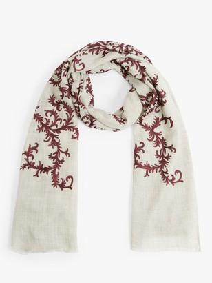 Modern Rarity Baroque Swirl Embroidery Wool and Silk Scarf, Pale Grey/Multi