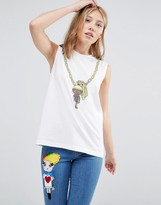 Love Moschino Doll on Chain Tank Top