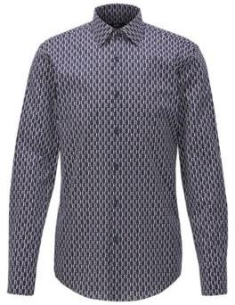 BOSS Slim-fit shirt with two-tone monogram print