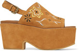 See by Chloe Embroidered Suede Platform Sandals - Tan