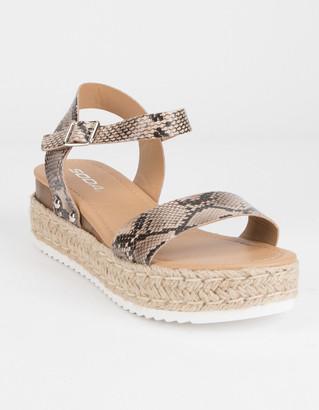 Soda Sunglasses Clip Espadrille Snake Womens Platform Sandals