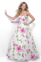 Blush Lingerie Dainty Sweetheart Floral Print A-Line Gown 5621