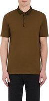 Lanvin Men's Grosgrain-Collar Cotton Polo Shirt-GREEN, DARK GREEN