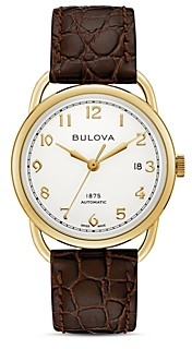 Bulova Limited Edition Joseph Commodore Brown Alligator-Embossed Leather Strap Watch, 38mm